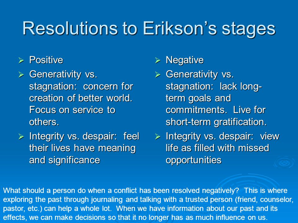 Resolutions to Erikson's stages