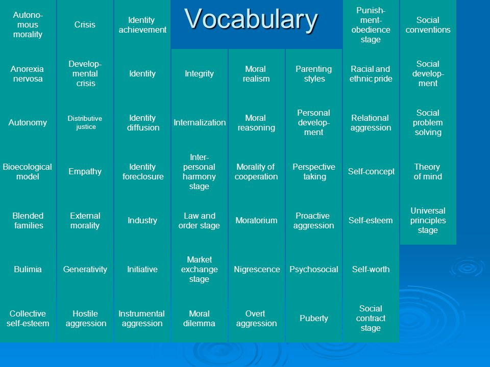 Vocabulary Autono-mous morality Crisis Identity achievement