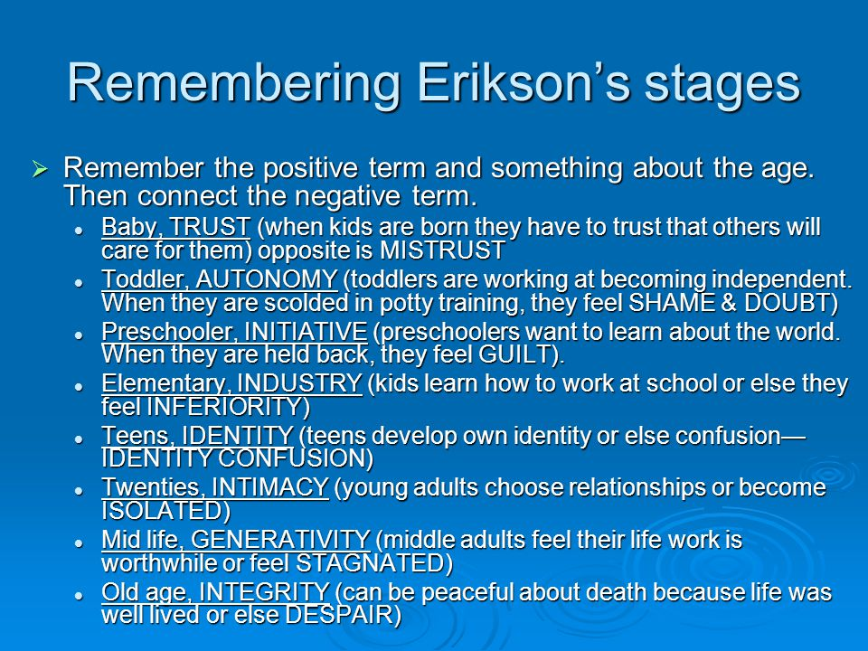 Remembering Erikson's stages