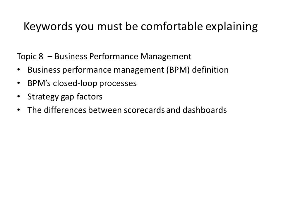 Keywords you must be comfortable explaining
