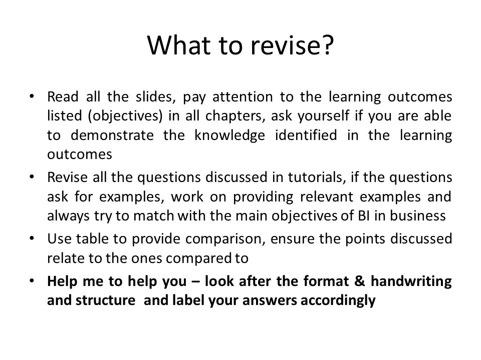 What to revise