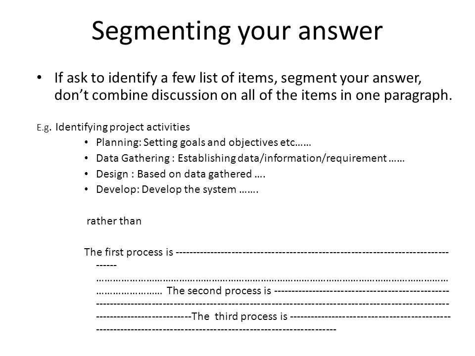 Segmenting your answer