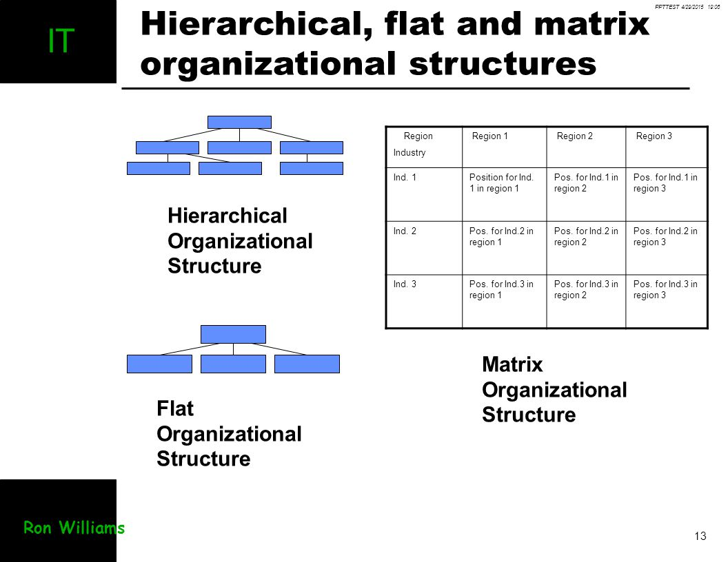 Hierarchical, flat and matrix organizational structures