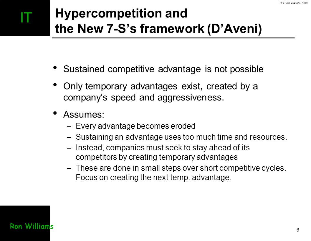 Hypercompetition and the New 7-S's framework (D'Aveni)