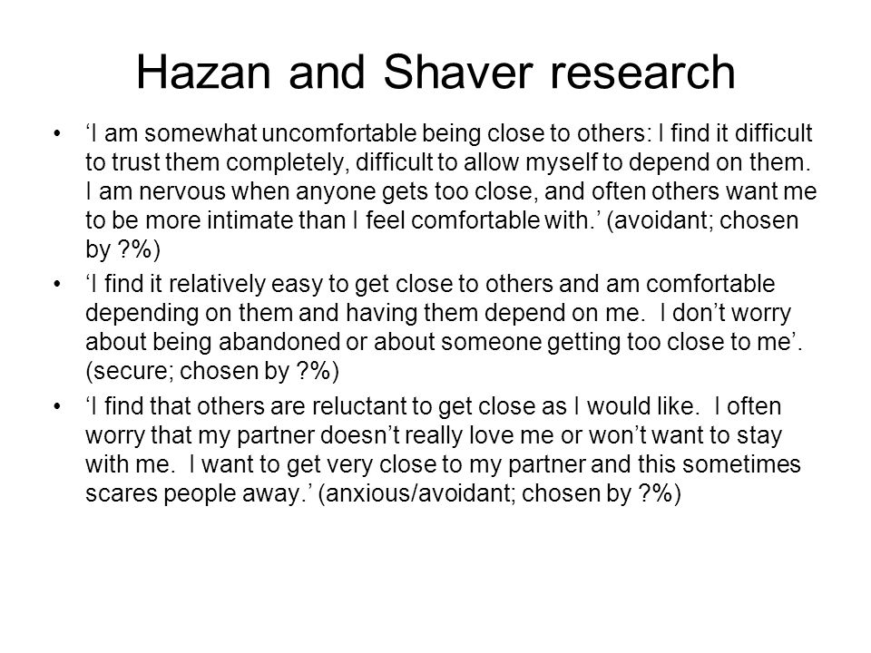 Hazan and Shaver research