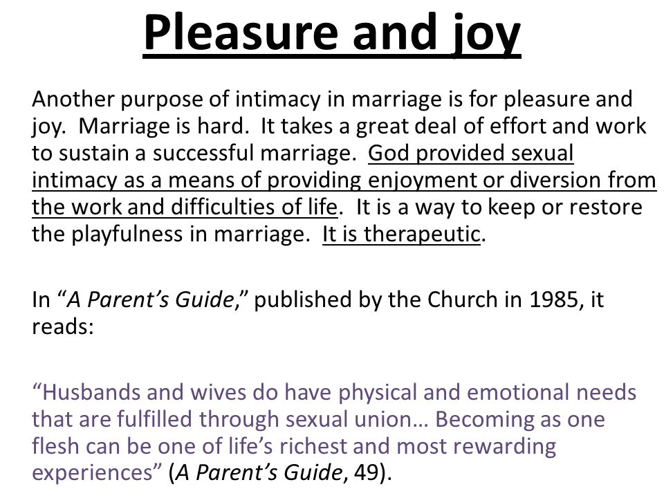Pleasure and joy