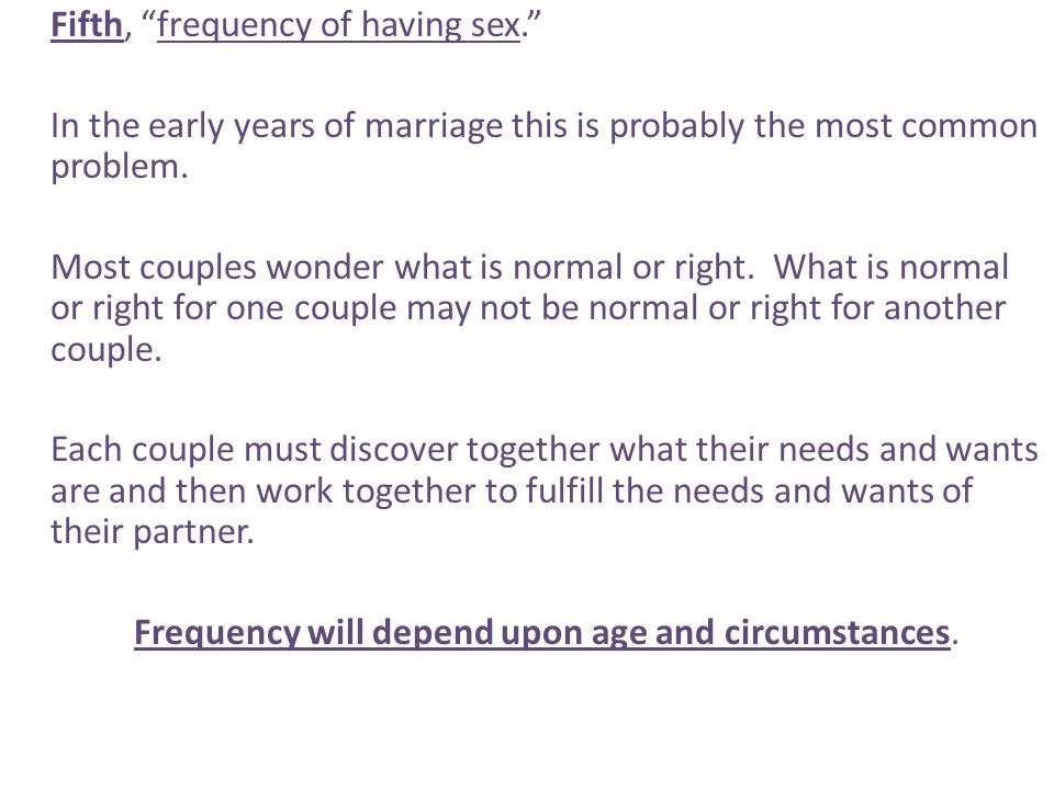 Fifth, frequency of having sex