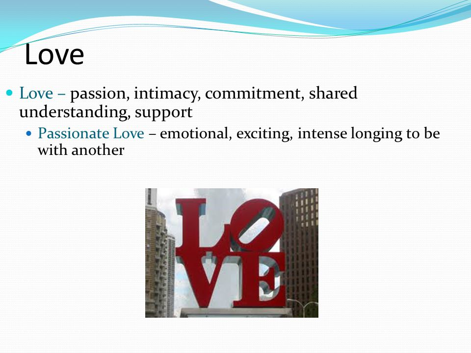 Love Love – passion, intimacy, commitment, shared understanding, support.