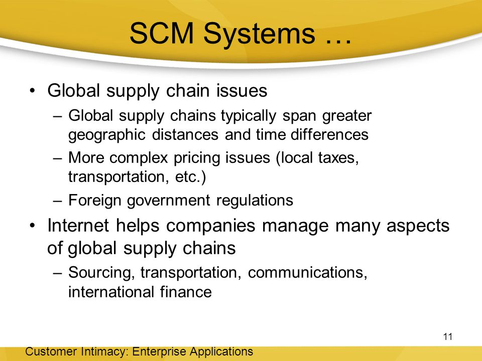 SCM Systems … Global supply chain issues