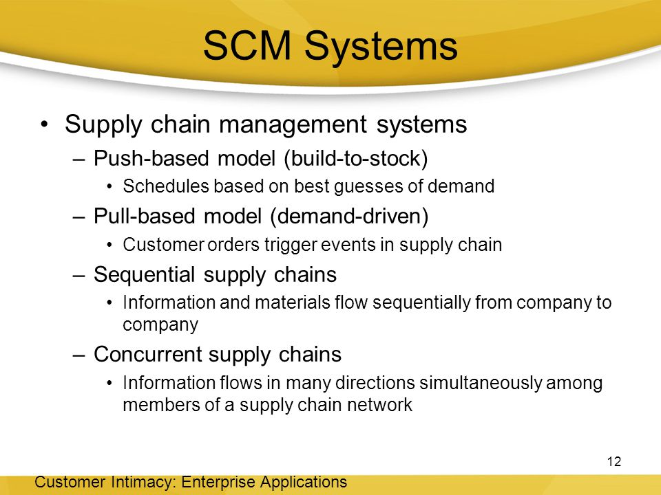 SCM Systems Supply chain management systems