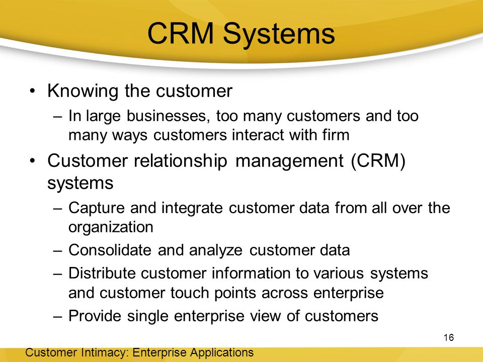 CRM Systems Knowing the customer