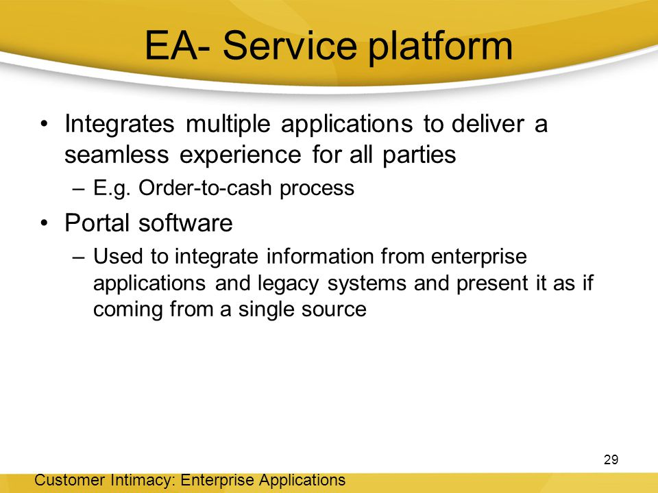 EA- Service platform Integrates multiple applications to deliver a seamless experience for all parties.