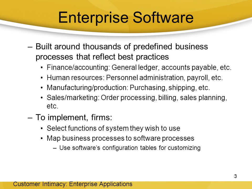 Enterprise Software Built around thousands of predefined business processes that reflect best practices.