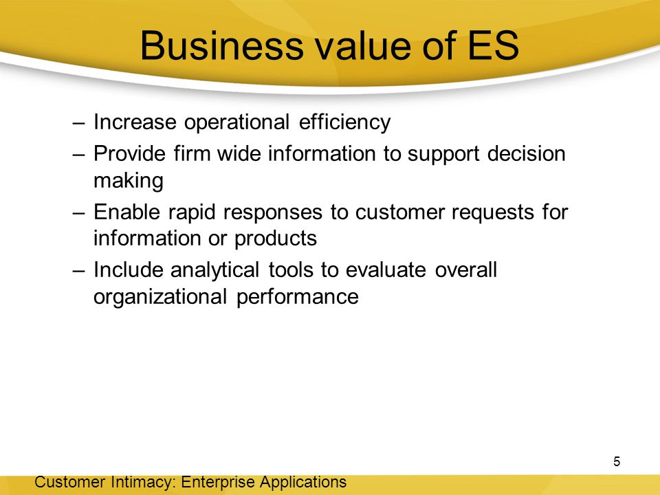 Business value of ES Increase operational efficiency