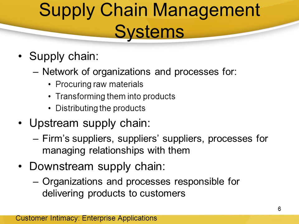 supply chain management systems Supply chain management and enterprise resource planning systems are two of the most popular components of enterprise solutions for today scm ensures that upstream and downstream members of the chain are able to deliver according to the standards.