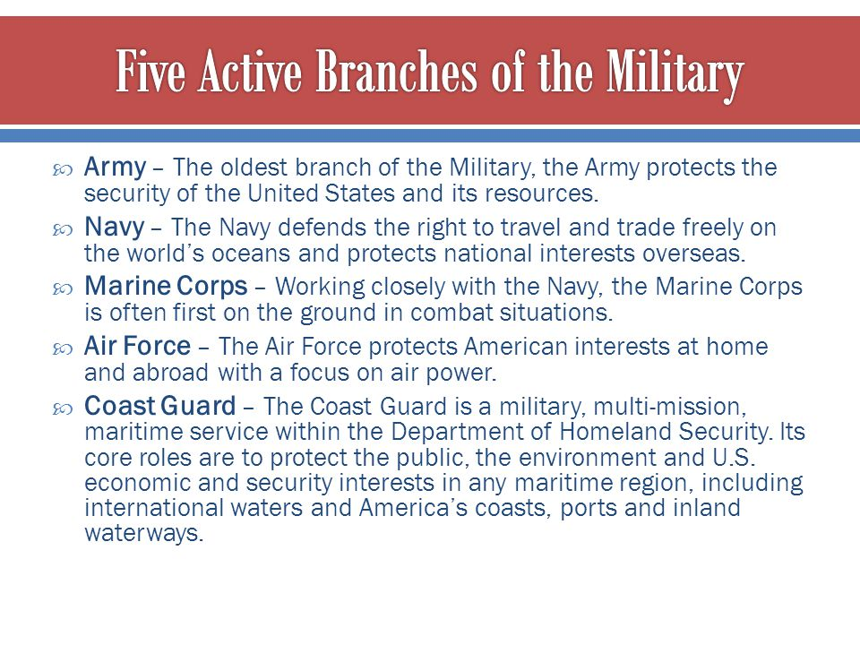 Five Active Branches of the Military