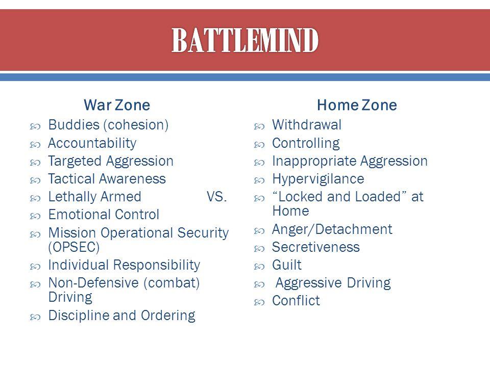 BATTLEMIND War Zone Home Zone Buddies (cohesion) Accountability