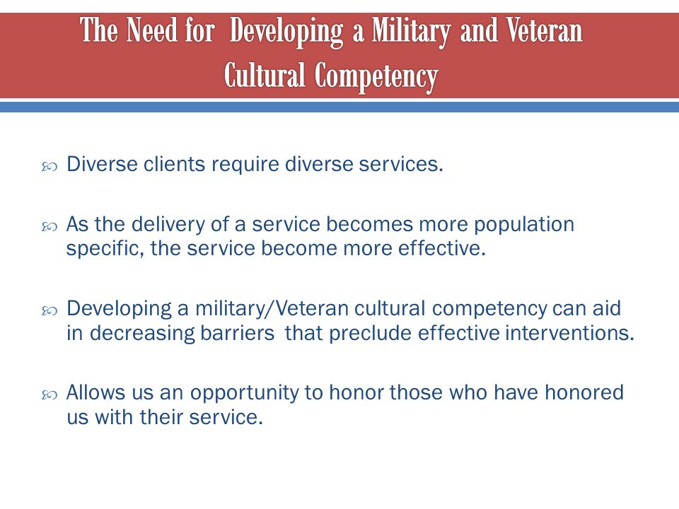 The Need for Developing a Military and Veteran Cultural Competency