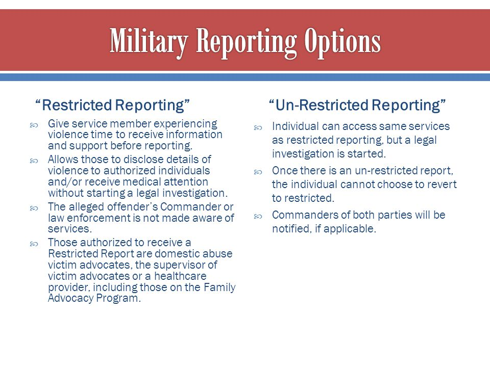 Military Reporting Options