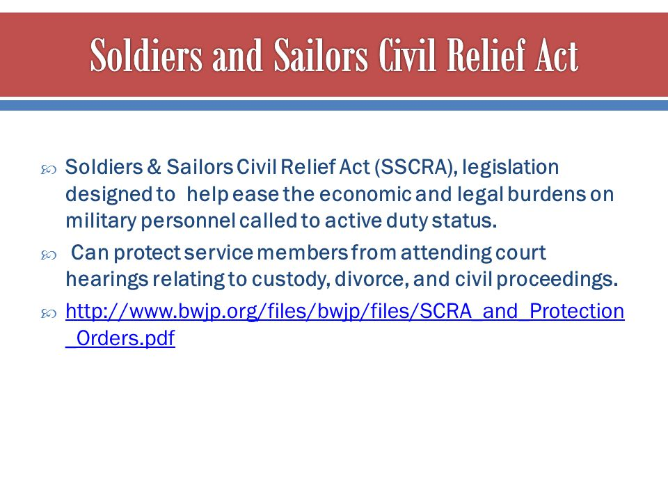 Soldiers and Sailors Civil Relief Act