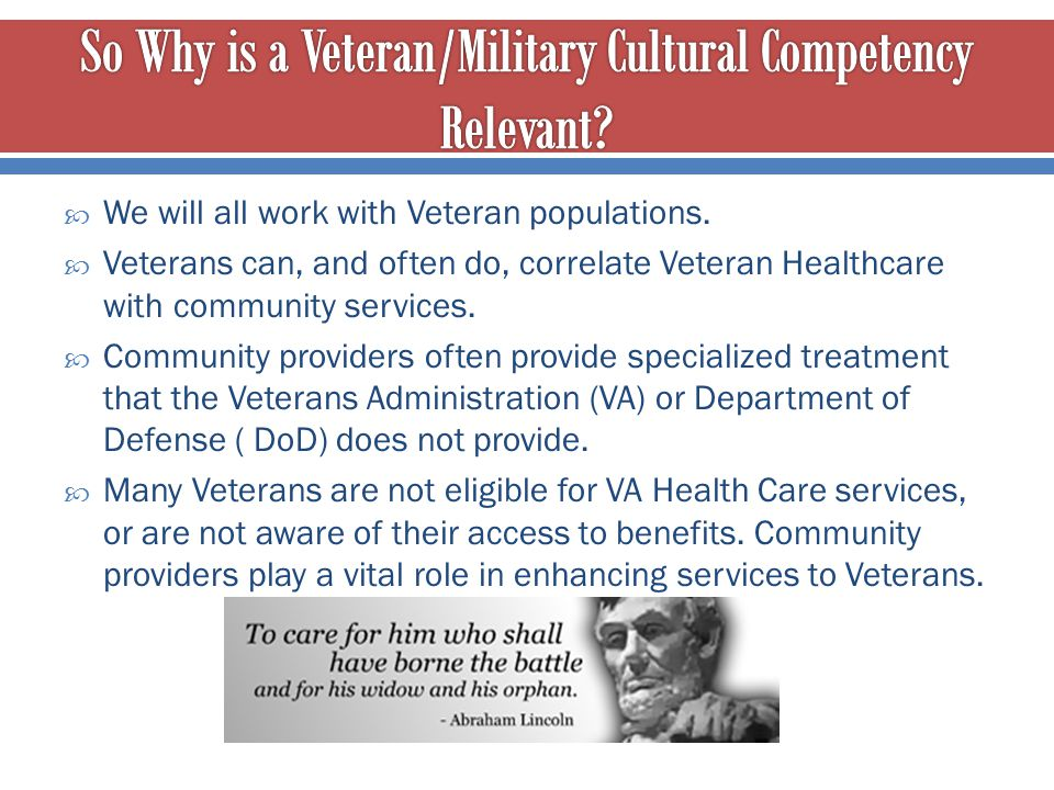 So Why is a Veteran/Military Cultural Competency Relevant