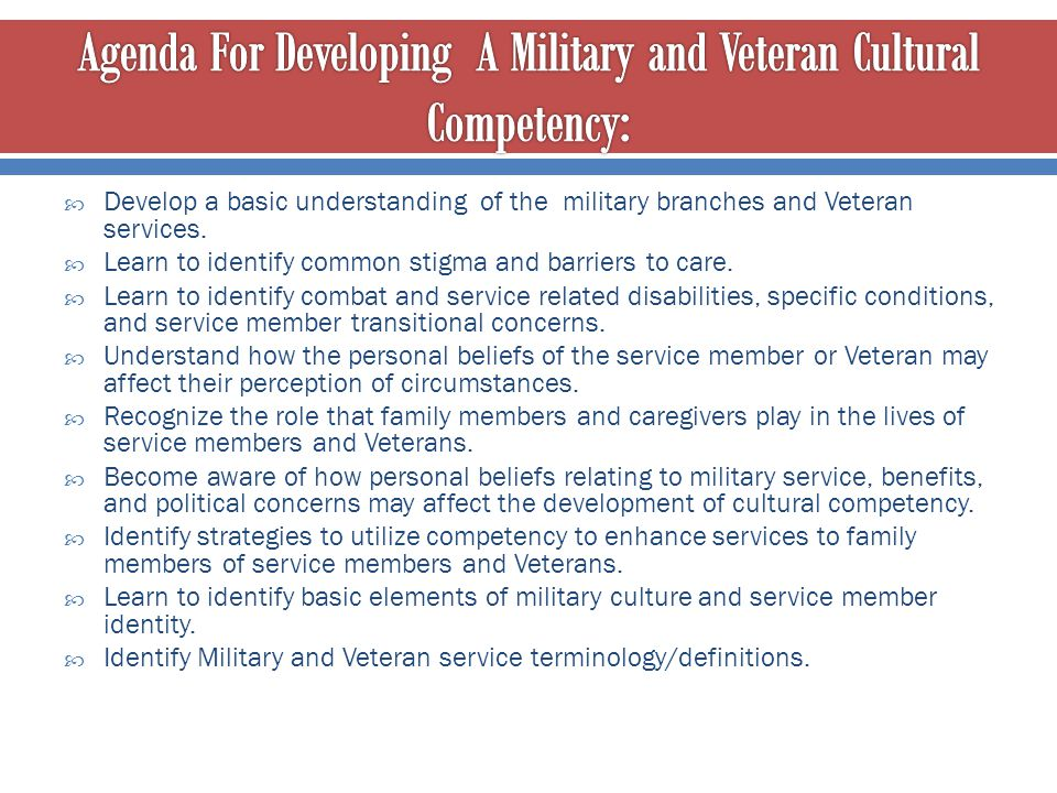 Agenda For Developing A Military and Veteran Cultural Competency: