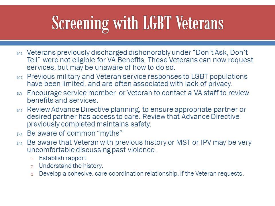 Screening with LGBT Veterans