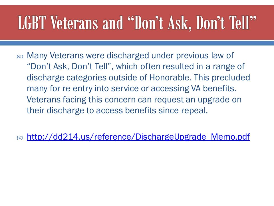 LGBT Veterans and Don't Ask, Don't Tell