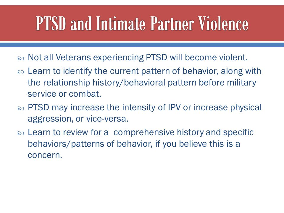 PTSD and Intimate Partner Violence
