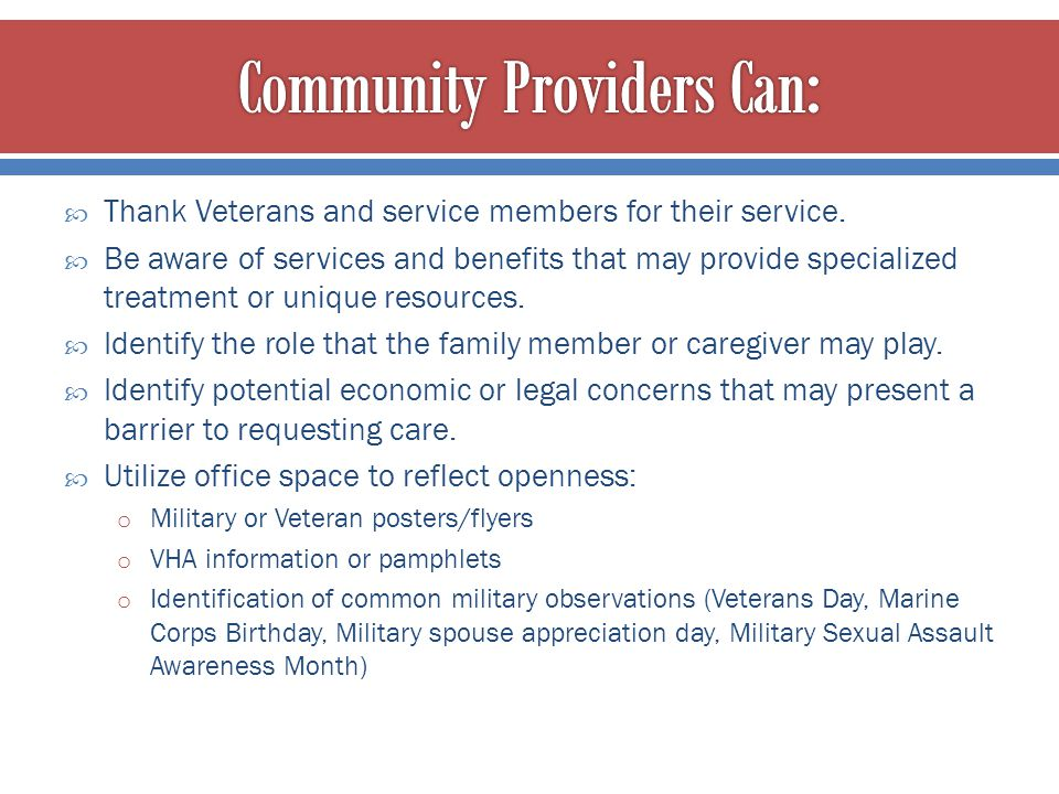 Community Providers Can: