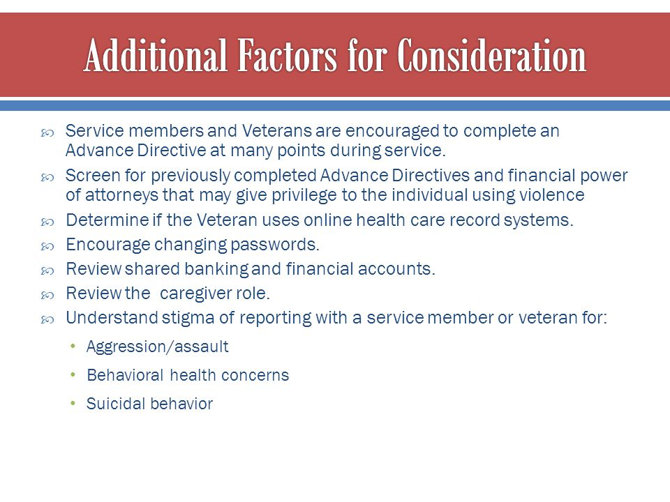 Additional Factors for Consideration