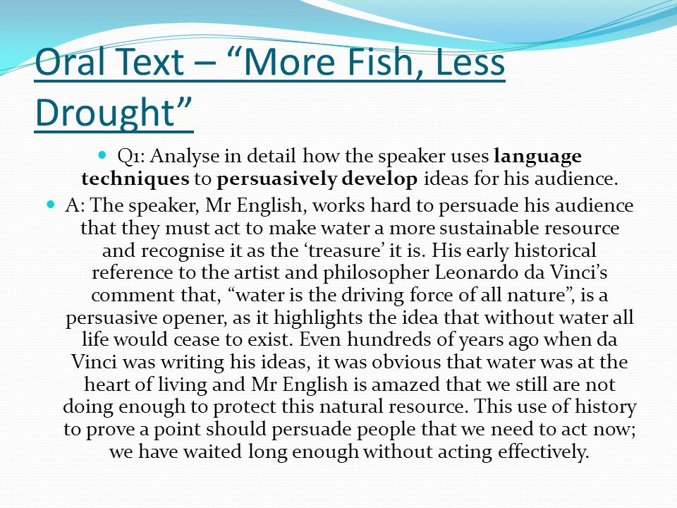 Oral Text – More Fish, Less Drought