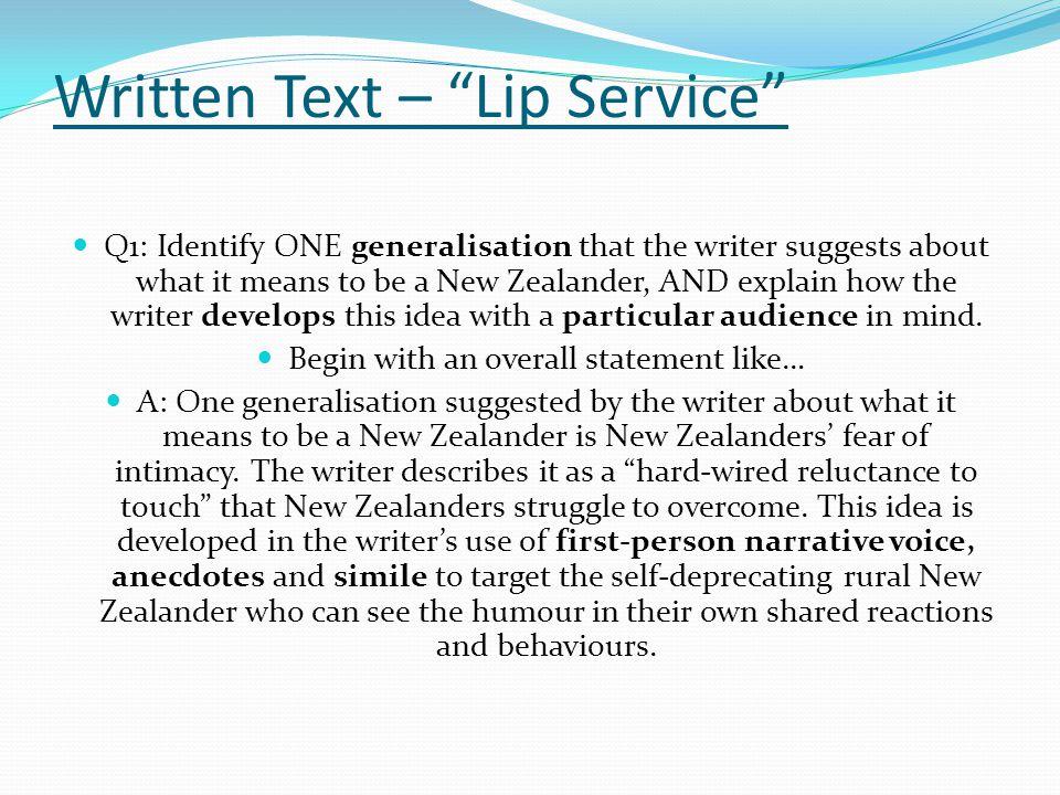 Written Text – Lip Service