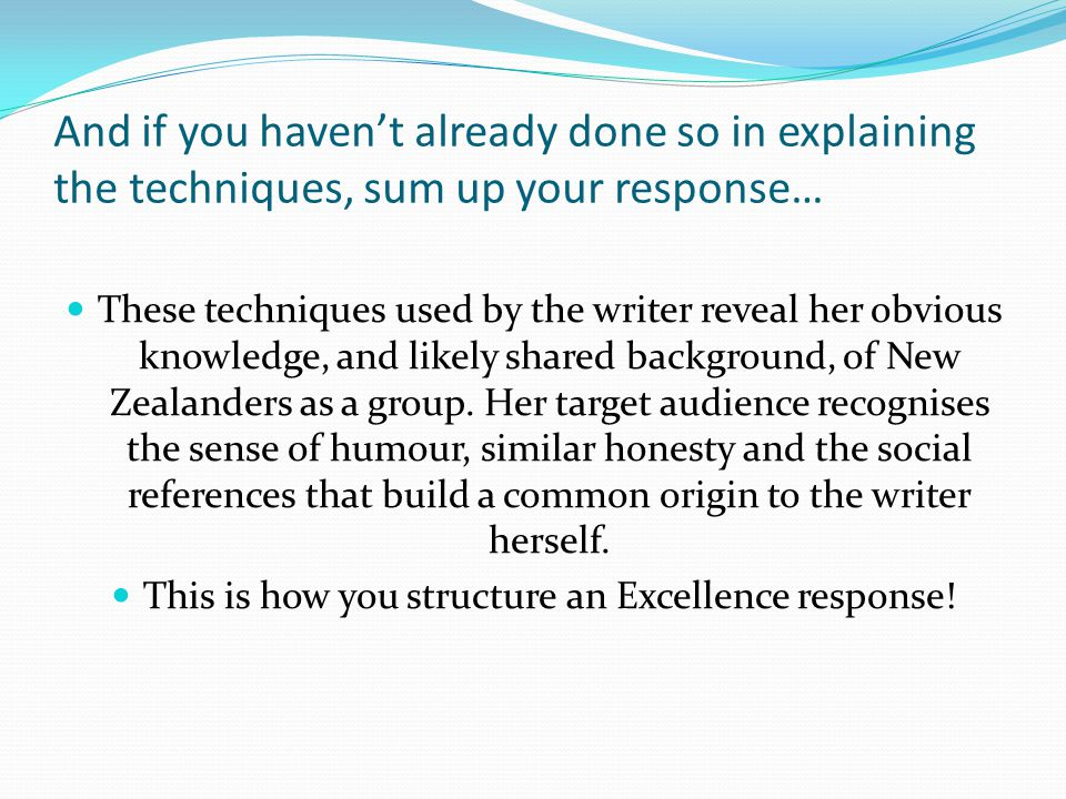 This is how you structure an Excellence response!