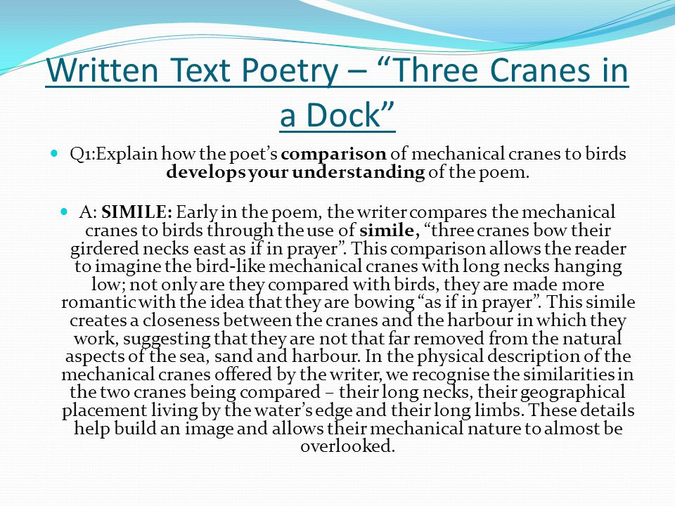 Written Text Poetry – Three Cranes in a Dock