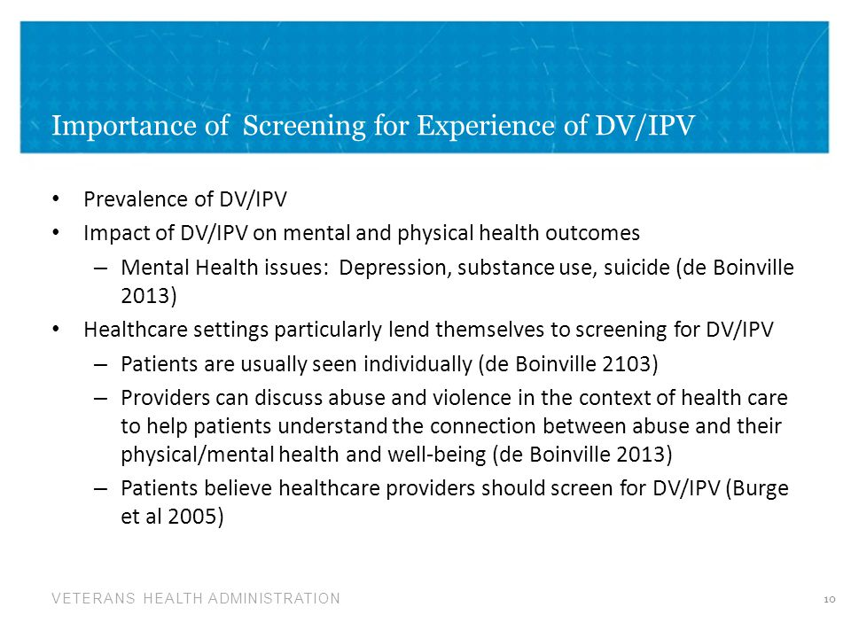 Importance of Screening for Experience of DV/IPV