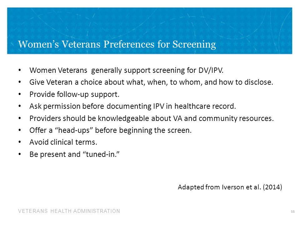 Women's Veterans Preferences for Screening
