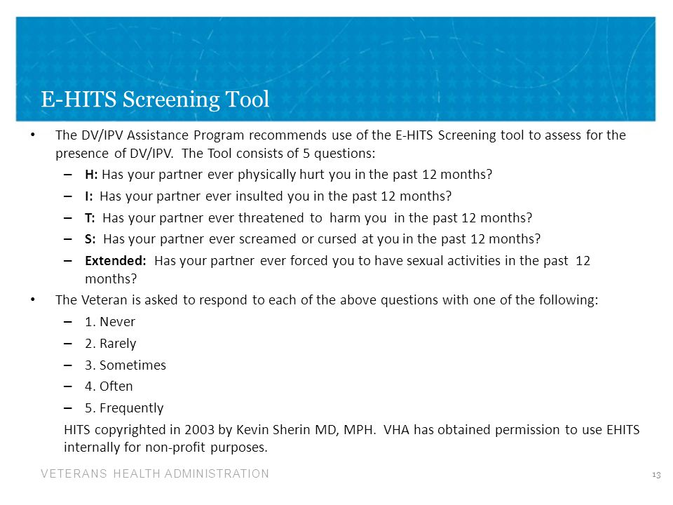 E-HITS Screening Tool