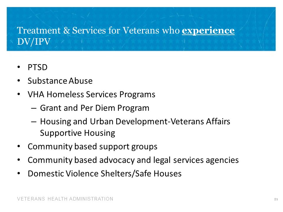 Treatment & Services for Veterans who experience DV/IPV