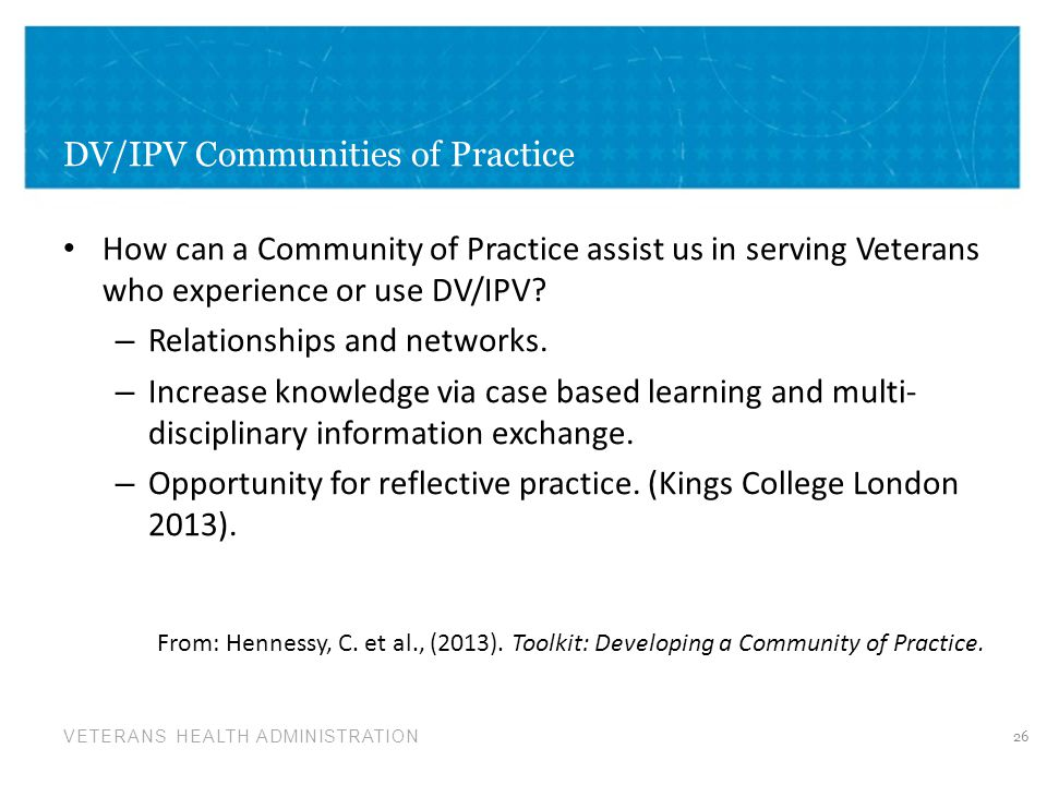 DV/IPV Communities of Practice