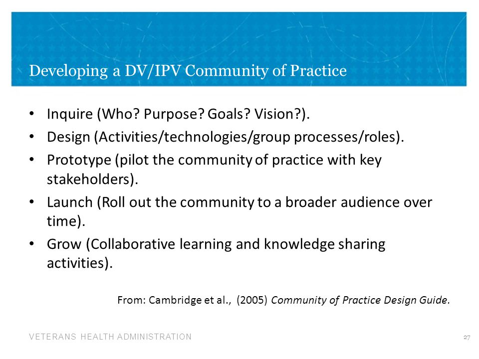 Developing a DV/IPV Community of Practice