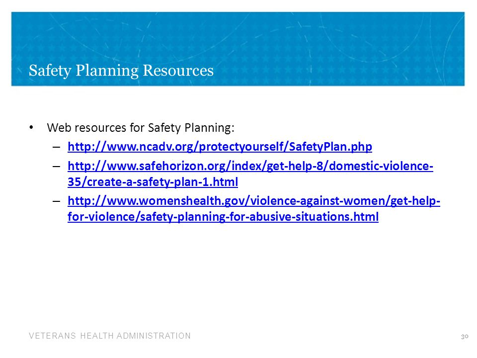 Safety Planning Resources