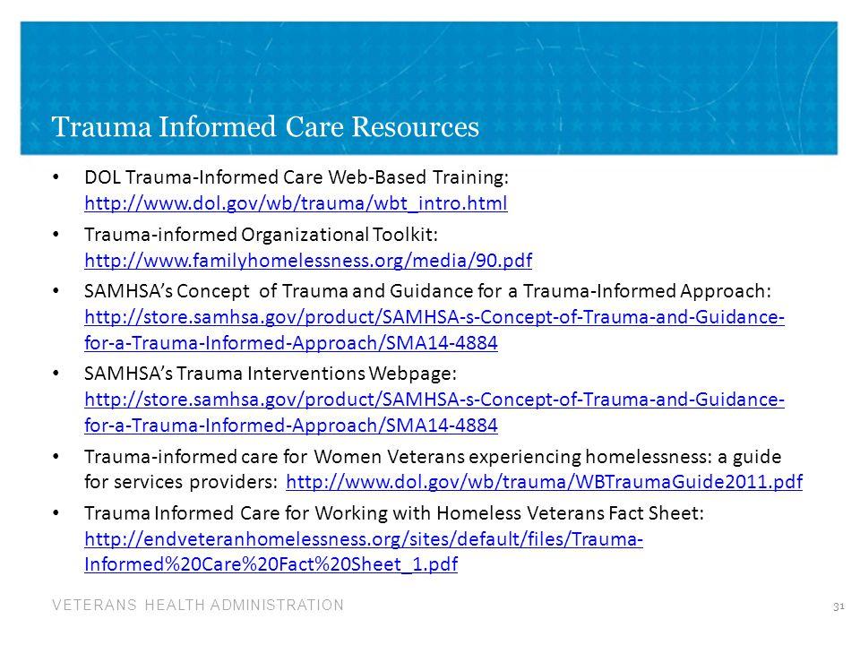 Trauma Informed Care Resources