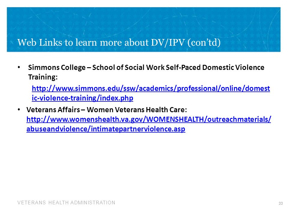 Web Links to learn more about DV/IPV (con'td)