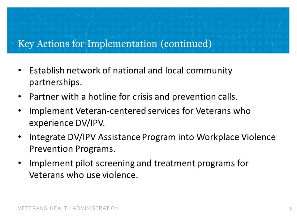 Key Actions for Implementation (continued)
