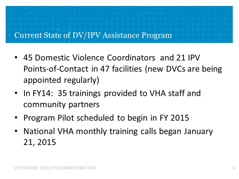 Current State of DV/IPV Assistance Program