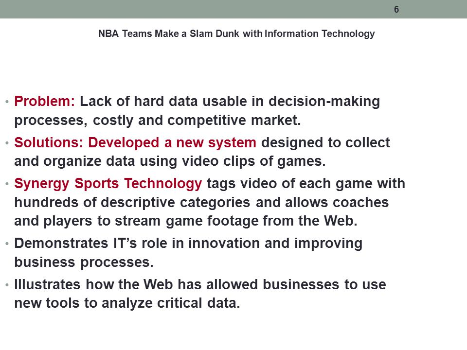 NBA Teams Make a Slam Dunk with Information Technology