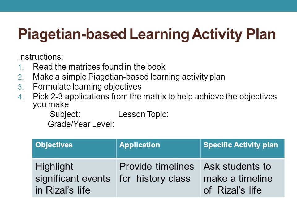 Piagetian-based Learning Activity Plan