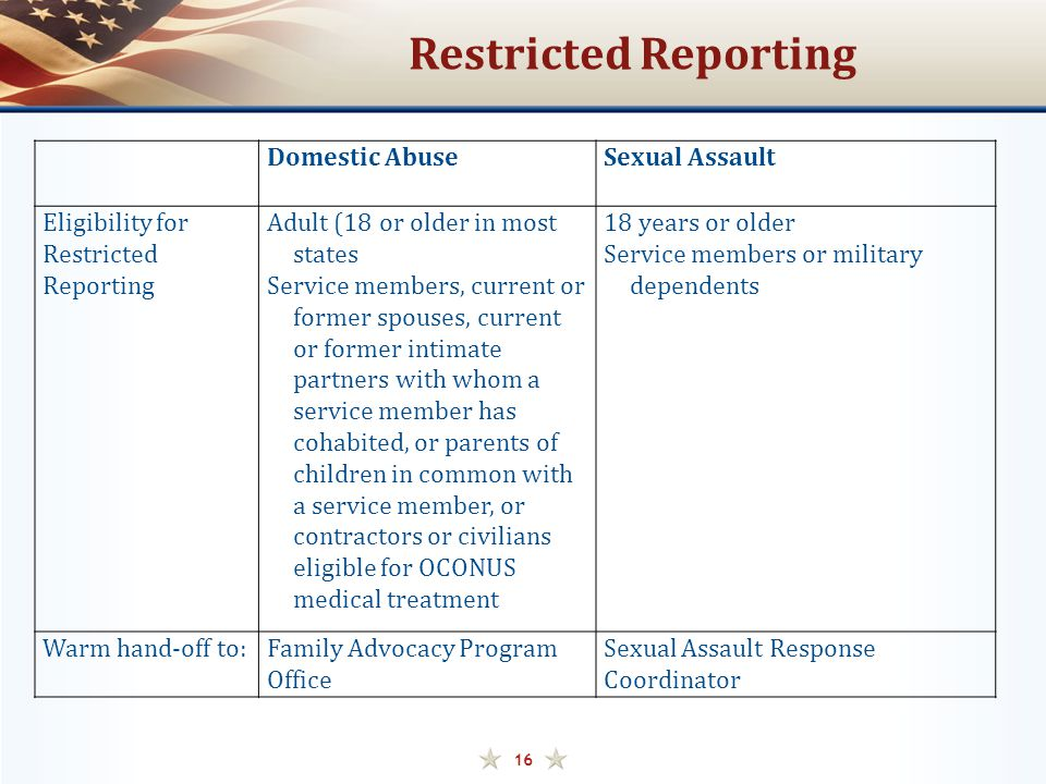 Restricted Reporting Domestic Abuse Sexual Assault