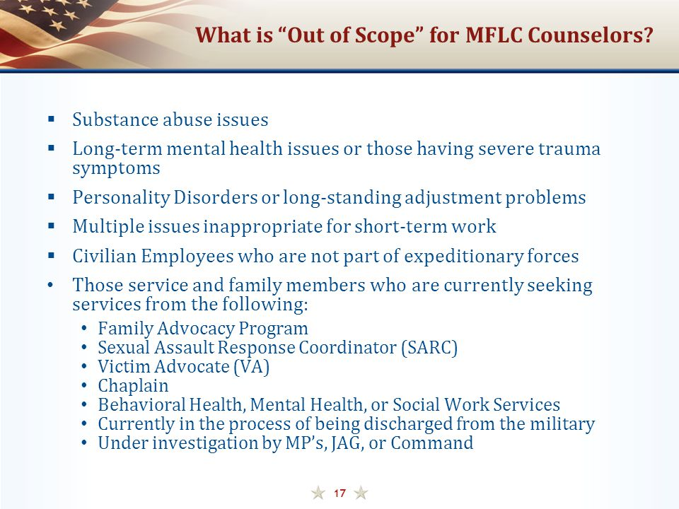 What is Out of Scope for MFLC Counselors